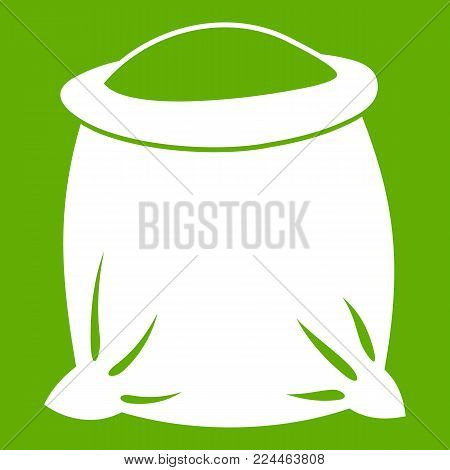 Sack full of flour icon white isolated on green background. Vector illustration