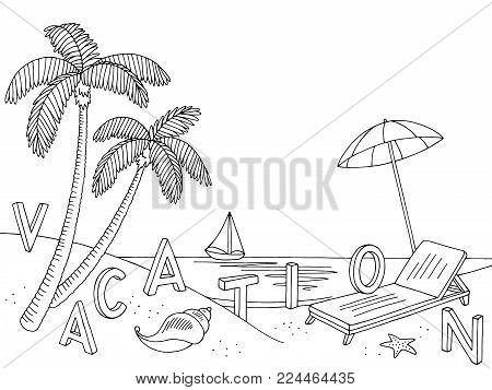 Sea coast beach graphic black white landscape sketch illustration vector