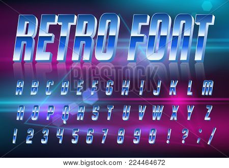 Color, bright font in the old style. Vector, vintage alphabet. Style 80 s, 90 s retro posters. Color gradient.