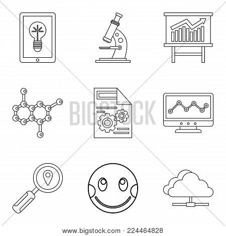 Material science icons set. Outline set of 9 material science vector icons for web isolated on white background