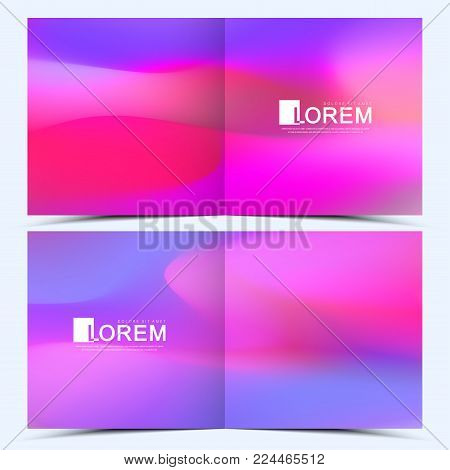 Modern vector template for square brochure, leaflet, flyer, cover, catalog, magazine, annual report. Abstract fluid 3d shapes vector trendy liquid colors backgrounds. Colored fluid graphic composition