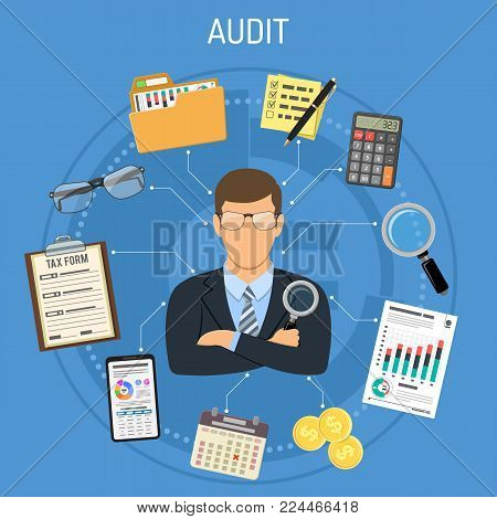 Auditing, Tax, Accounting Concept. Auditor Holds Magnifying Glass in Hand and Checks Financial Report with Charts, Calculator and Smartphone. Flat Style Icons. Isolated vector illustration