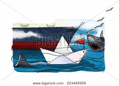 Business and sharks. A paper boat with a red flag on the waves next to a fragment of a large sea ship surrounded by sharks. Gulls in the clouds. Graphic illustration