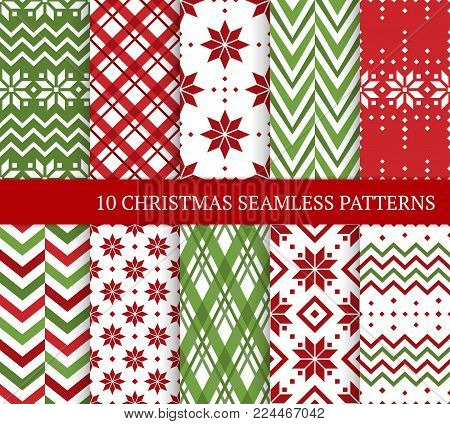 Ten Christmas different seamless patterns. Xmas endless texture for wallpaper, web page background, wrapping paper and etc. Retro style. Snowflakes, chevron, argyle, color lines and Nordic motifs