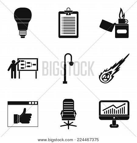 Bulb icons set. Simple set of 9 bulb vector icons for web isolated on white background