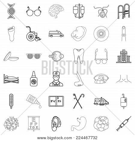 Health care provider icons set. Outline set of 36 health care provider vector icons for web isolated on white background