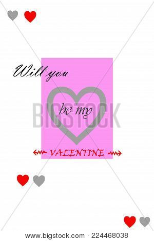 Paper greeting card concept. Will you be my valentine?Concept with the text  for congratulations to valentine.