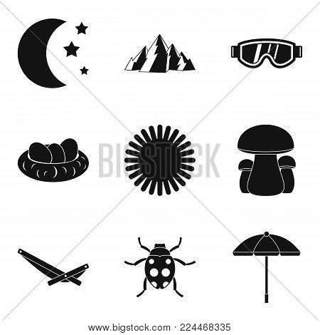 Reference point icons set. Simple set of 9 reference point vector icons for web isolated on white background