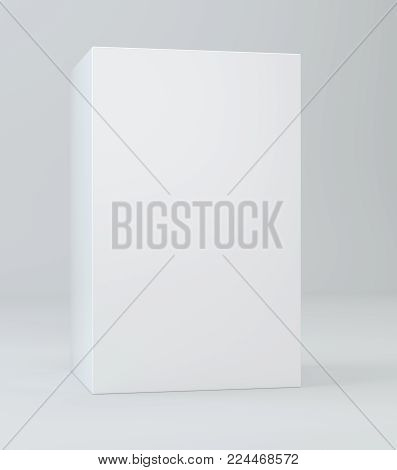 White box mock up model shadow. Blank cardboard or white paper matchbook container box package template. 3D rendering