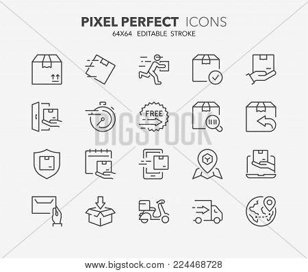 Thin Line Icons Set Vector & Photo (Free Trial) | Bigstock