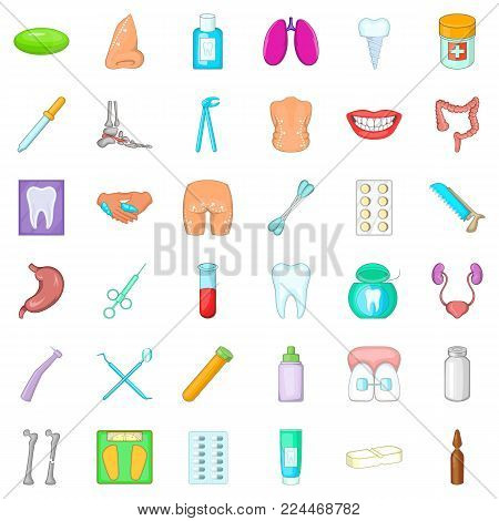 Health issues icons set. Cartoon set of 36 health issues vector icons for web isolated on white background poster