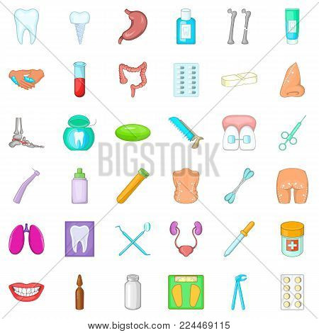 Matter of health icons set. Cartoon set of 36 matter of health vector icons for web isolated on white background