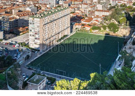 Marseille, France - December 4, 2016: Aerial view of the Giovanni's (Di Giovanni) football stadium from basilica of Notre Dame de la Garde in Marseille, Provence, France. A football stadium belonging to the USMEC football club.