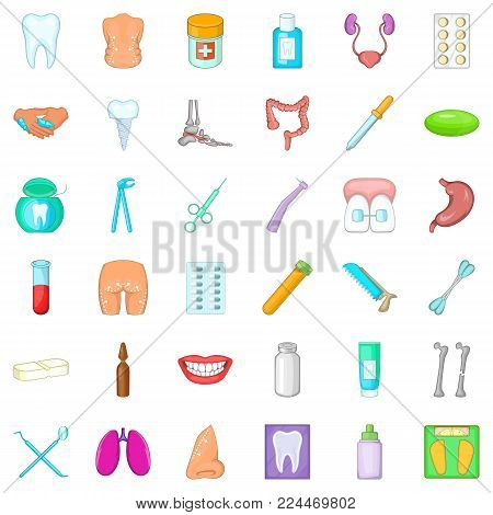 Hygiene item icons set. Cartoon set of 36 hygiene item vector icons for web isolated on white background