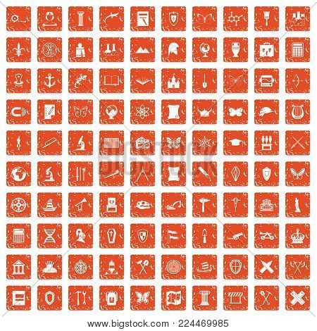 100 archeology icons set in grunge style orange color isolated on white background vector illustration