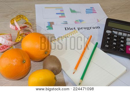 Citrus fruits. Concept of weight loss. Healthy lifestyle diet with fresh vegetables. Low-fat diet