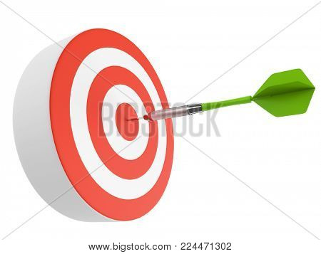 Green dart hitting the bulls eye. Business concept. Darts game illustration. Goal achievement metaphor. 3D rendering.