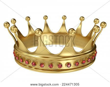 Shiny gold crown decorated with precious gems isolated on white background. 3D rendering.