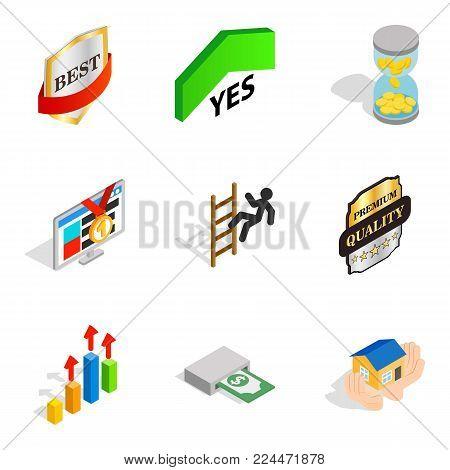 Managerial position icons set. Isometric set of 9 managerial position vector icons for web isolated on white background