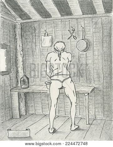 Sporty woman working in the cottage kitchen, ililustration pen, pencil