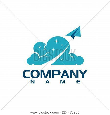 Travel agency logo design idea with airplane in negative space. Amazing destinations creative symbol concept. Abstract logo.