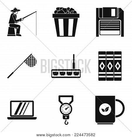 Leisure activity icons set. Simple set of 9 leisure activity vector icons for web isolated on white background