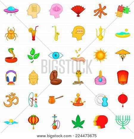Meditation icons set. Cartoon set of 36 meditation vector icons for web isolated on white background