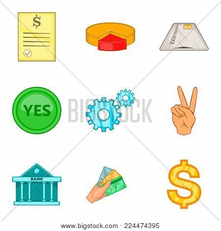Granting icons set. Cartoon set of 9 granting vector icons for web isolated on white background
