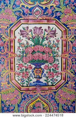 SHIRAZ, IRAN - JUNE 20, 2007: Detail of the wall decoration of the Nasir al-Mulk mosque in Shiraz, Iran.