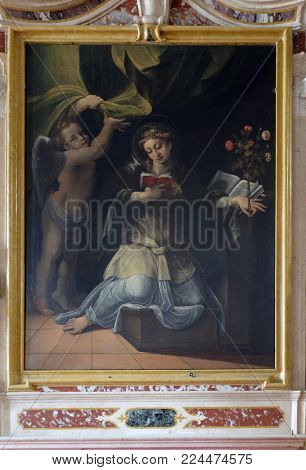 MANTUA, ITALY - JUNE 04: Saint Speciosa of Pavia, altarpiece in Mantua Cathedral dedicated to Saint Peter, Mantua, Italy on June 04, 2017.