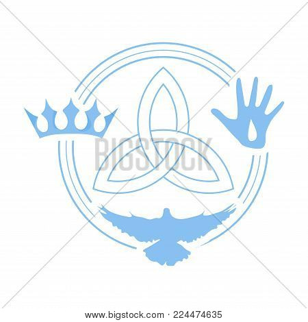 Vector illustration for Christian community: Holy Trinity. Trinity symbol with three hypostases as one God: Crown for the Father, Pierced Hand for the Son Jesus Christ, and the Holy Spirit as a dove.