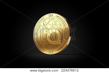 Golden SIA cryptocurrency concept coin isolated on black background. 3D rendering