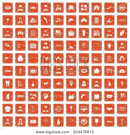 100 favorite work icons set in grunge style orange color isolated on white background vector illustration