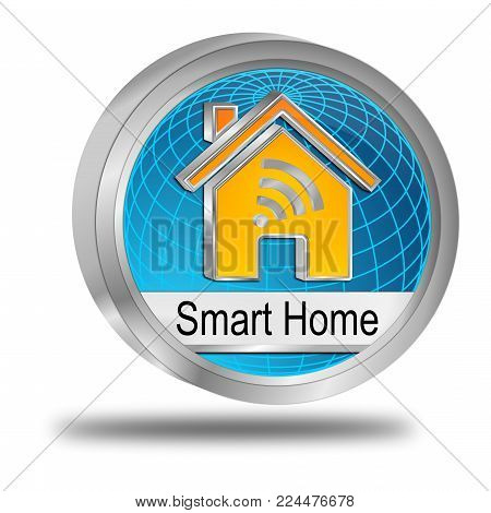 decorative blue Smart Home Button - 3D illustration