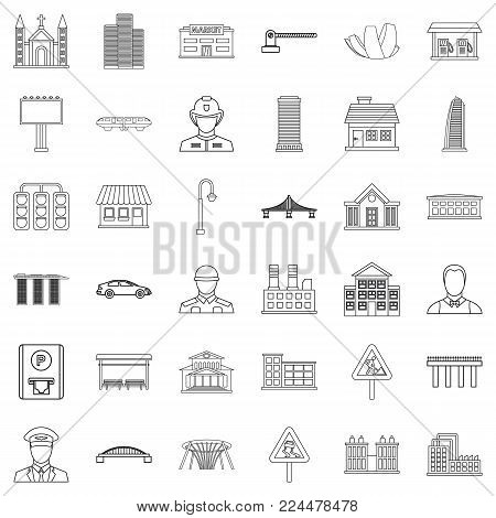 City executive icons set. Outline set of 36 city executive vector icons for web isolated on white background