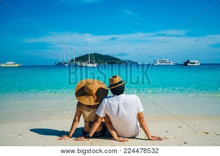 Romantic Scene Of Young Love Couple In Similan Islands