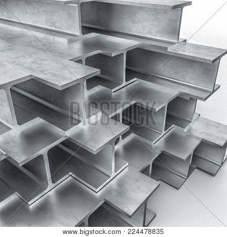 steel metal beam 3d rendering image
