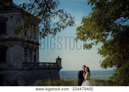 Sensitive outdoor portrait of the beautiful young newlywed couple tenderly hugging at he background of the old castle and landscape