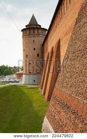 Kolomna, Moscow Region, Russia. Marinkin Tower Of Kremlin In Sunny Summer Day Close Up. Famous Landmark Of City Kolomna.
