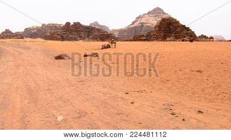 Panoramic view of Wadi Run desert in Jordan