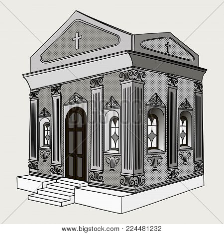 Shades of gray, vector illustration. Crypt, cemetery church building