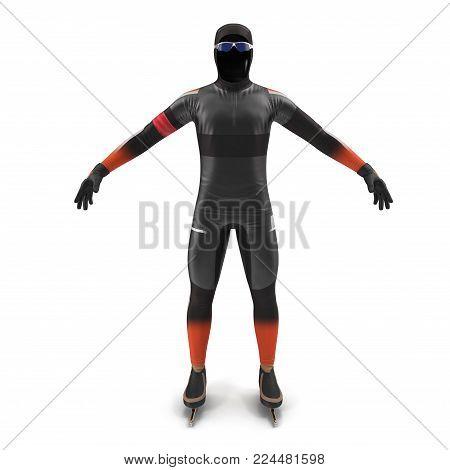 Ice speed skater uniform on white background. Front view. 3D illustration