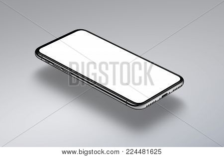 Perspective view isometric smartphone mockup hovers over a gray surface. New frameless smartphone mockup with white screen. 3D illustration.