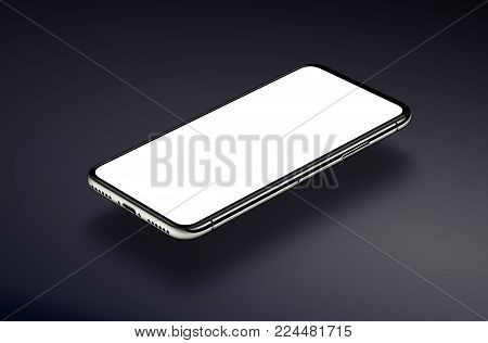 Perspective view isometric smartphone mockup hovers over a dark surface. New frameless smartphone mockup with white screen. 3D illustration.