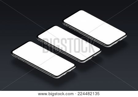 Perspective view smartphones mockup. Several isometric smartphones mockup with white blank screen. 3D illustration.