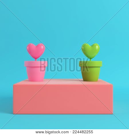 Two hearts in the pots on red box on bright blue background in pastel colors. Minimalism concept. 3d render