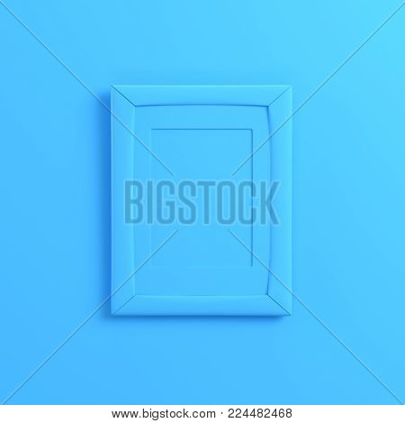 Blank frrame on bright blue background. Minimalism concept. 3d render