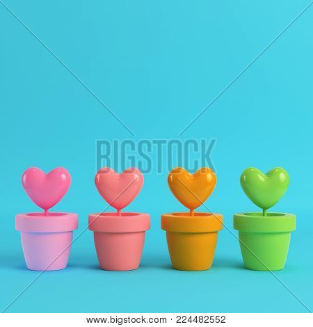 Colorfull hearts in the pots on red box on bright blue background in pastel colors. Minimalism concept. 3d render