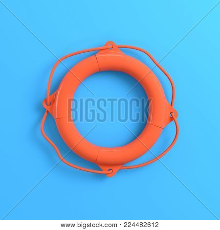 Lifebuoy on bright blue background. Minimalism concept. 3d render
