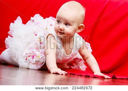 Happy childhood. Lovely little child girl in princess fairy dress. Portrait of cute sweet adorable baby ballerina.